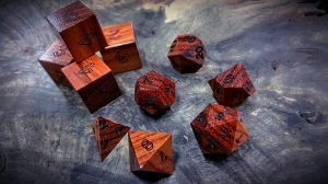 orange agate polyhedral dice