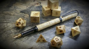anegrie fountian pen and dice