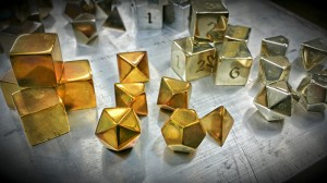 Brass Dragon's Breath Polyhedral Set