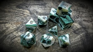 alligator jawbone dice in bamboo green