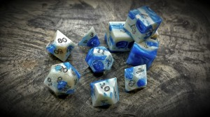 alligator jawbone dice in blue orchid
