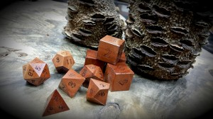 A: banksia dice cup with jarrah polyhedral dice