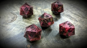 Buckeye Burl d20s Dyed Red