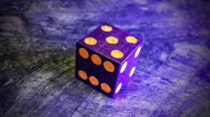 Aurora d6 in Unholy Orange and Purple Heart
