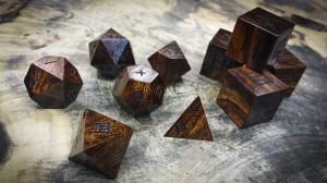 Kanji Polyhedral Set in Desert Ironwood (Dark)
