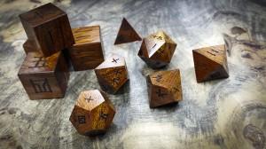 Kanji Polyhedral Set in Desert Ironwood (Light)
