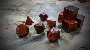 runic polyhedral set in bloodwood