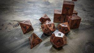 runic polyhedral set in bubinga