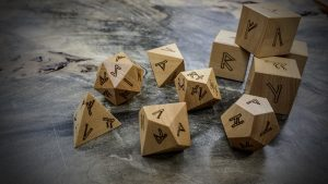 runic polyhedral set in ivory wood