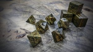 runic polyhedral set in lignum vitae