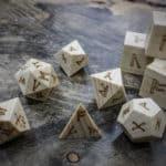 runic polyhedral set in poplar