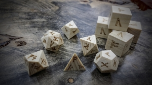 runic polyhedral set in poplar