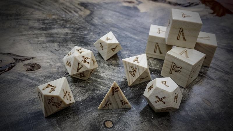 Runic Polyhedral Dice Artisan Dice