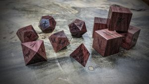 runic  polyhedral set in purple heart