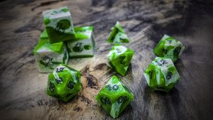 Gator Jawbone Green Apple Polyhedral Dice