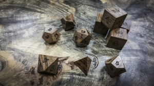 English Walnut Polyhedral Dice