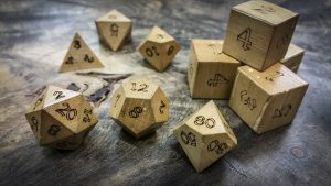 Persimmon Wood Polyhedral Dice