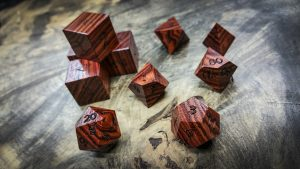Tulipwood Polyhedral Dice (Dark)