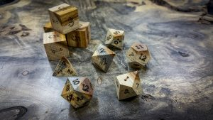 Canary Wood with Spalted Sap Wood Polyhedral Set