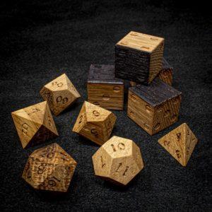 Jack Daniels Oak Polyhedral Dice Set