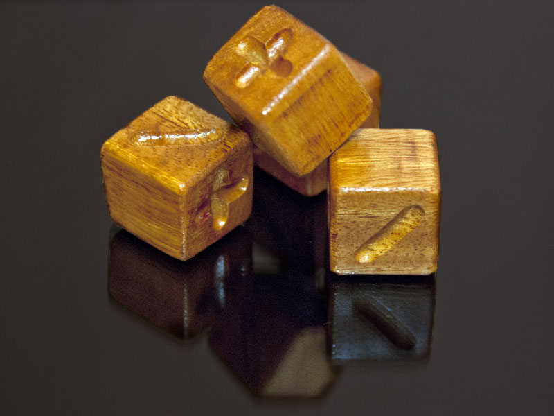 Bois D'Arc Wooden Fudge Dice