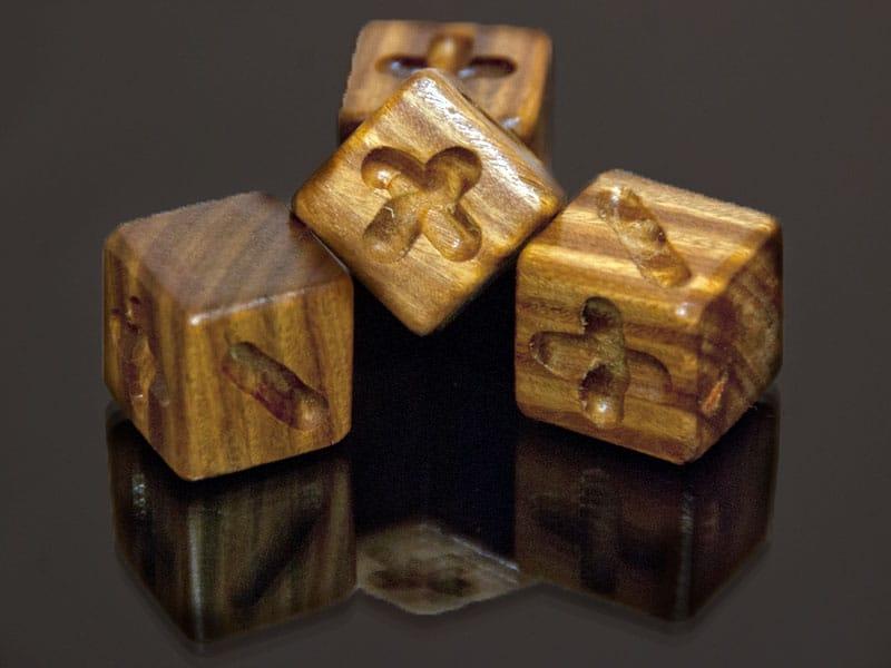 Lignum Vitae Wooden Fudge Dice