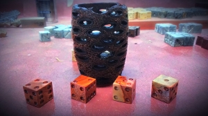redr iver gum dice with basankia sead pod dice cup