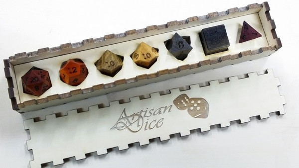 Rainbow Hued Polyhedral Dice Set. Includes 7 diffrent woods.