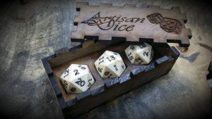 ivory twenty sided dice (d20)