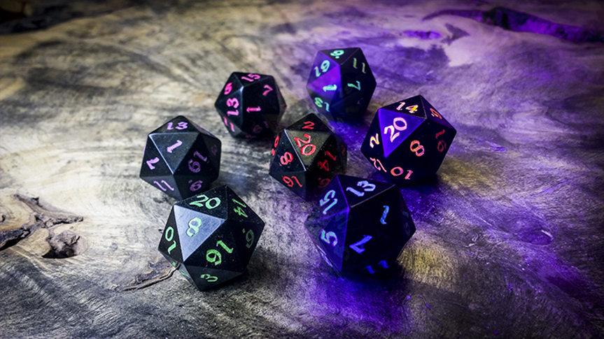 Jet Dice with Aurora Inlay