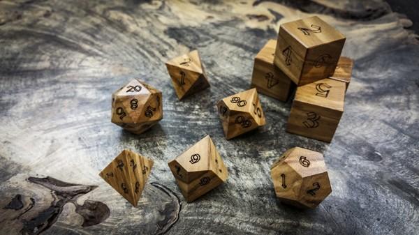 Mediterranean Olivewood Polyhedral Dice