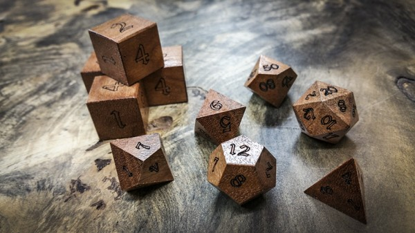 Moabi (African Pearwood) Polyhedral Dice