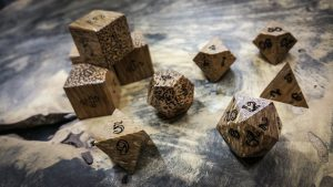 Red Palm Wood Polyhedral Dice