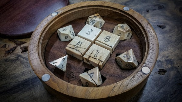 Mammoth Ivory Dice in Custom Teak and East Indian Rosewood Box