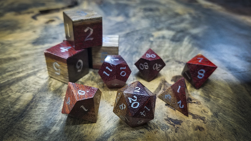 Bloodwood Polyhedral Set Inlaid with Alumnium