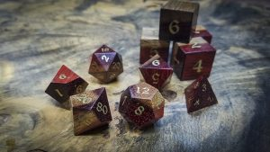 Bloodwood Polyhedral Set Inlaid with Brass