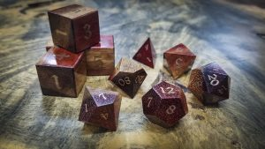 Bloodwood Polyhedral Set Inlaid with Bronze