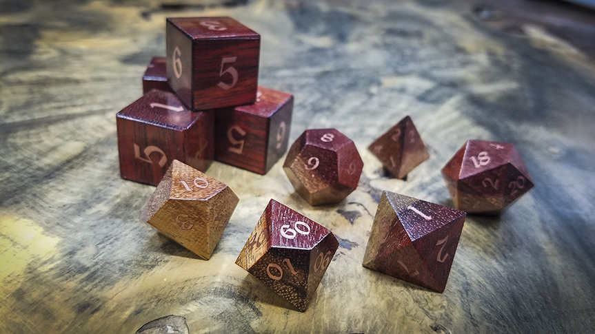 Bloodwood Polyhedral Set Inlaid with Copper