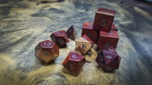Bloodwood Polyhedral Set Inlaid with Electrum