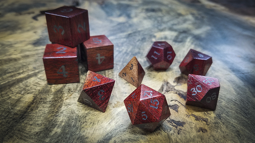Bloodwood Polyhedral Set Inlaid with Iron