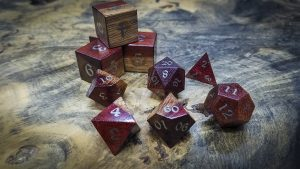 Bloodwood Polyhedral Set Inlaid with Nickel Silver