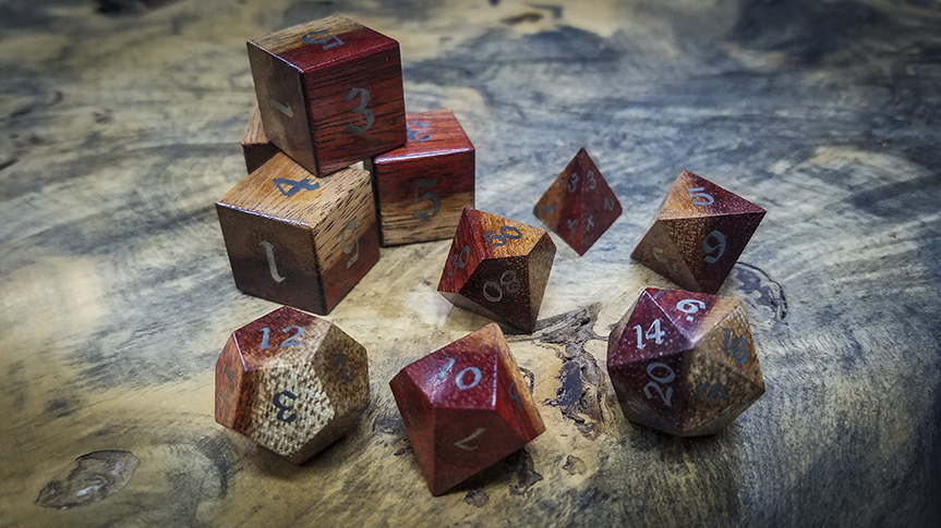 Bloodwood Polyhedral Set Inlaid with Stainless Steel