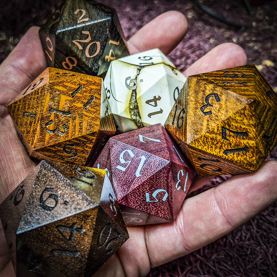 big ass d20s in hand