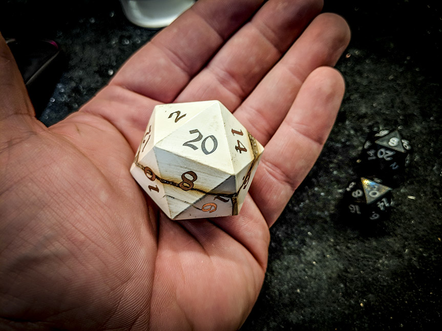 big ass mammoth d20 in hand
