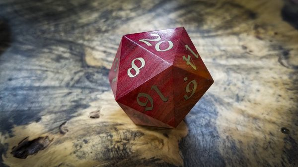 Big Ass D20 in Pink Ivory and Brass Inlay
