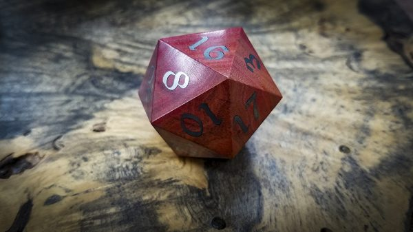 Big Ass D20 in Pink Ivory and Electrum Inlay