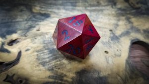 Big Ass D20 in Pink Ivory and Lapis Lazuli Inlay