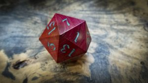 Big Ass D20 in Pink Ivory and Turquoise Inlay