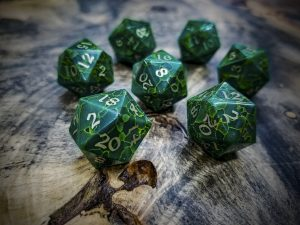 Jade D20s Inlaid with Brass