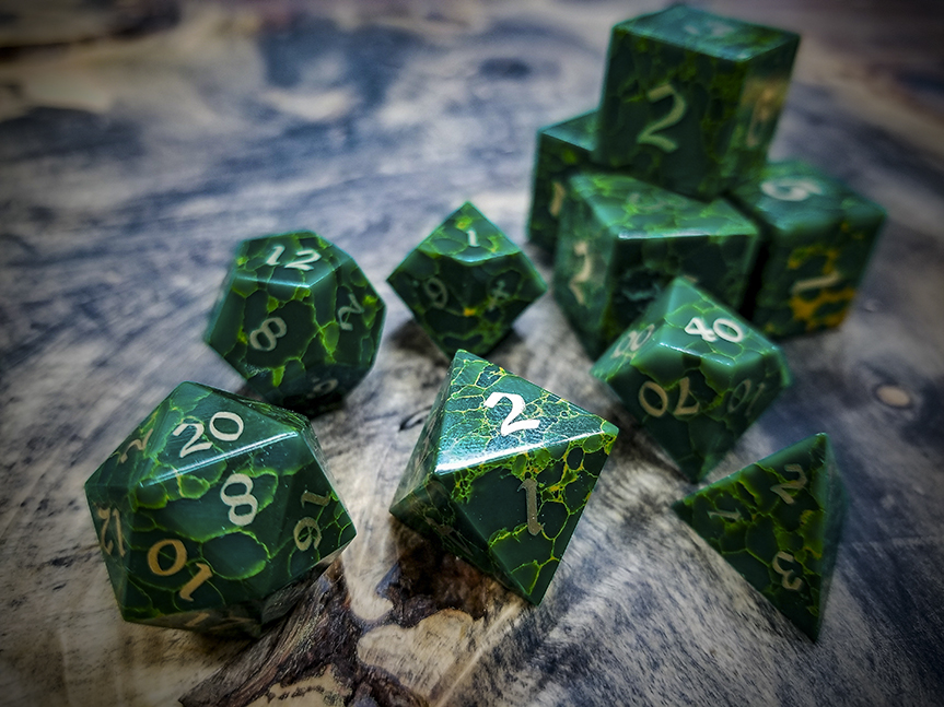 Jade Polyhedral Dice Inlaid with Brass